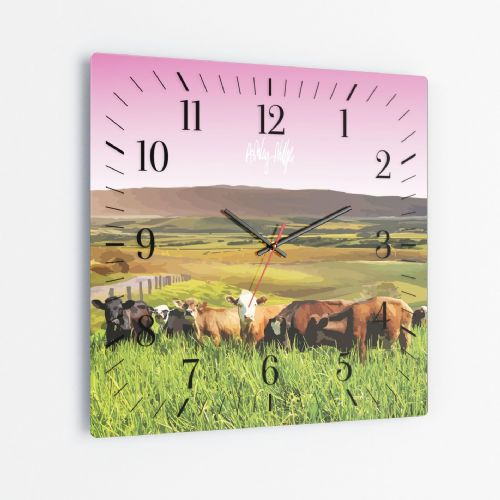 Rolling Hills With Cows Pink - Square Glass Clock
